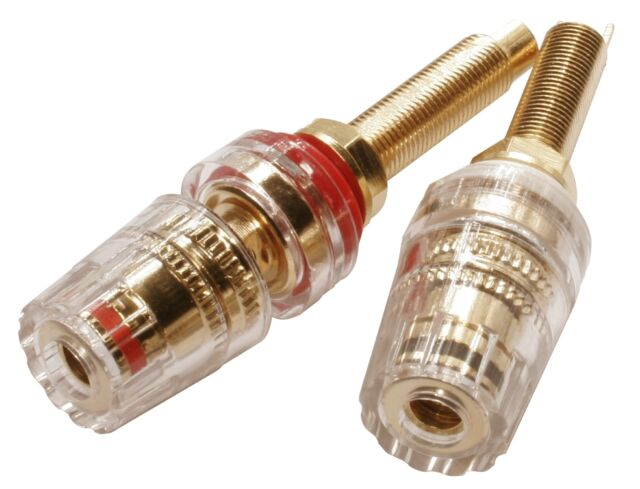 Speaker Binding Posts Terminals Connectors  2 Red 2 Black Gold Plated - 2 Pairs