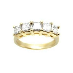 1-35-ct-G-SI-PRINCESS-CUT-DIAMOND-WEDDING-BANd-14k-YG