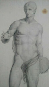 Rare-large-male-nude-drawing-xix-study-after-the-antique-academic-study