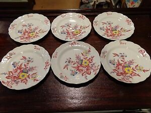 Vintage-Dishes-BOOTHS-Old-Country-Sprays-Set-of-6-Made-in-England