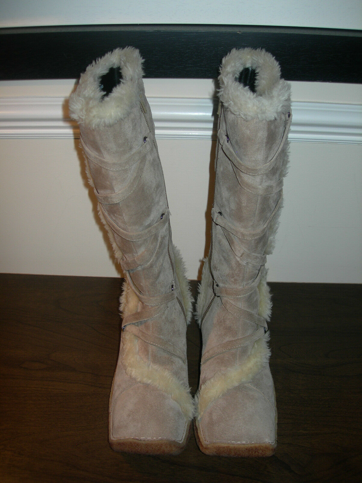 HUSH PUPPIES WOMEN'S Stiefel CALF LENGTH FUR TAUPE SUEDE / BEIGE SUEDE TAUPE EU SIZE 38 / UK 5 e6ef0f