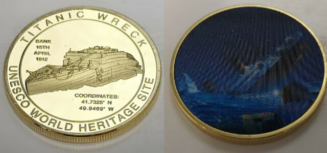Titanic Silver 3D Coin Bateau épave Film leonardo de caprio James Cameron TV rétro