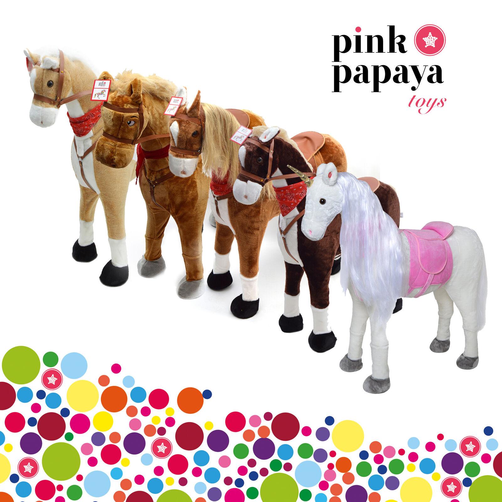 Rosa Papaya Stehpferde XXL Kopfhöhe 105cm Plüschpferd Kinderpferd Pony Reiten