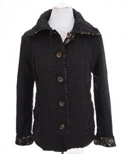 Coldwater-Creek-Reversible-Crinkle-Jacket-Art-to-Wear-Floral-Black-Women-Sz-M