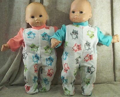 """Doll Clothes Baby Made 2 Fit American Girl 15/"""" Bitty Twins 2pc Pajamas Rick Rack"""