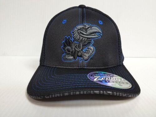 Kansas Jayhawks Cap Zephyr Stretch Fit Fitted Black Mesh Undertaker Hat NCAA