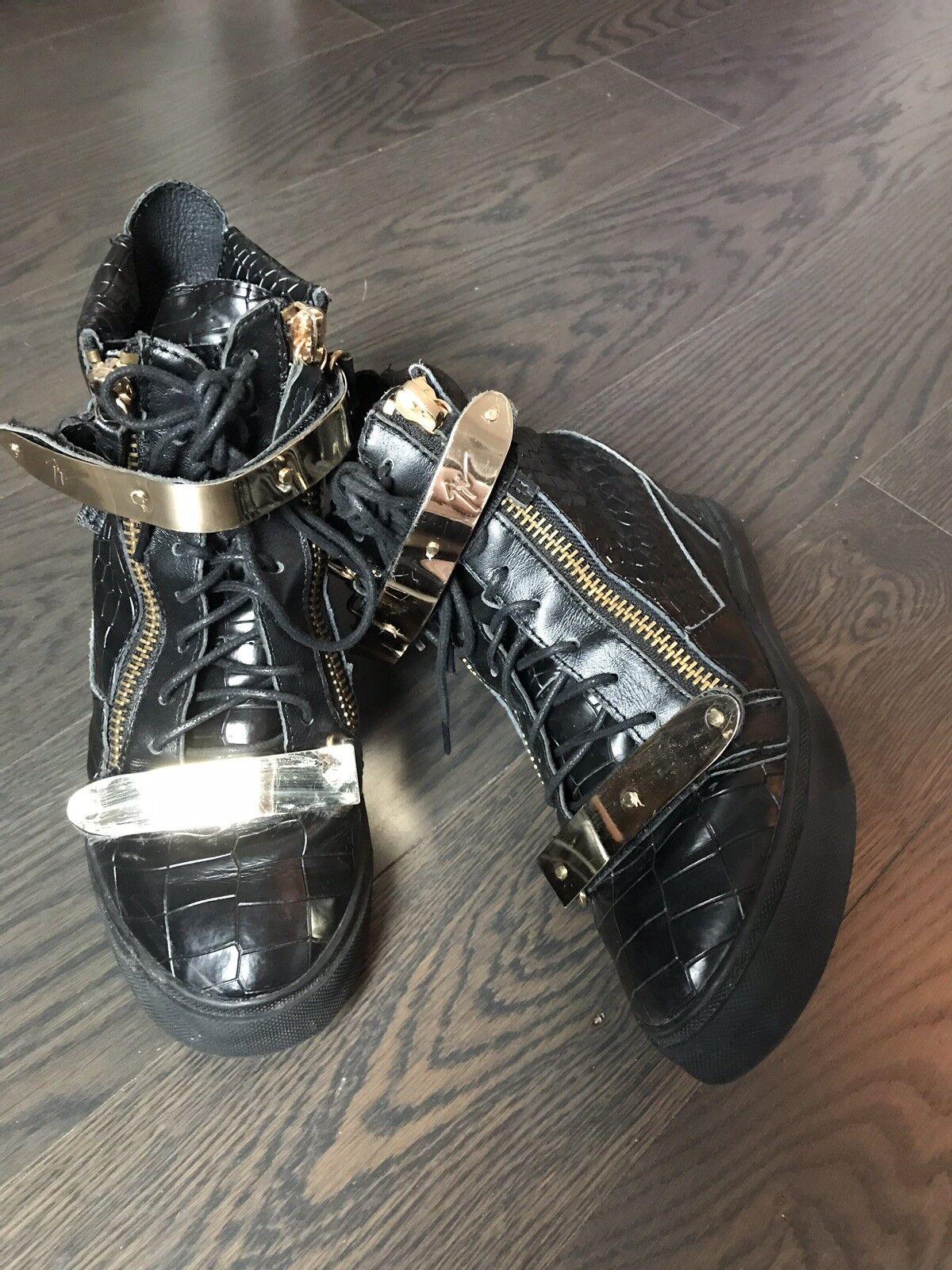 Giuseppe Zanotti Zanotti Zanotti Women Black Leather High Top gold Wedge Sneakers Boots 38 297e20