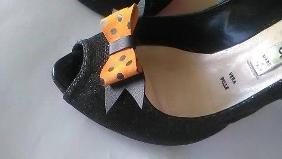 Black & Orange Bow Leather 2 Set, Handmade.