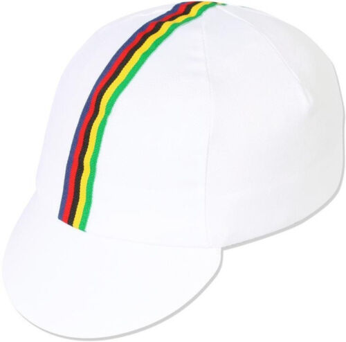PACE White World Champ Stripes Traditional Cycling Cap Bike Hat Track Fixed Gear