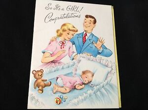736-Precious-Vintage-1950s-Baby-Greeting-Card-So-Its-A-Girl-Sleeping-Baby-Bear