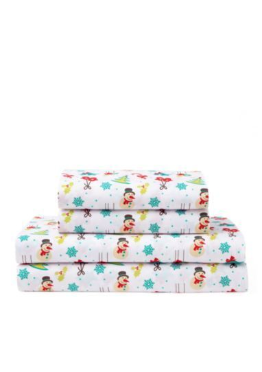 Christmas Holiday Snowman rot, Grün, Blau & Weiß King Sheet Set (4 Piece Set)