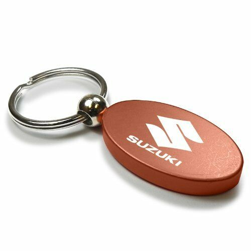 Suzuki Orange Aluminum Oval Key Chain
