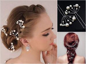 Set 5 Haarnadeln Perlen Fecher Hochzeit Tiara Diadem Ivory Braut