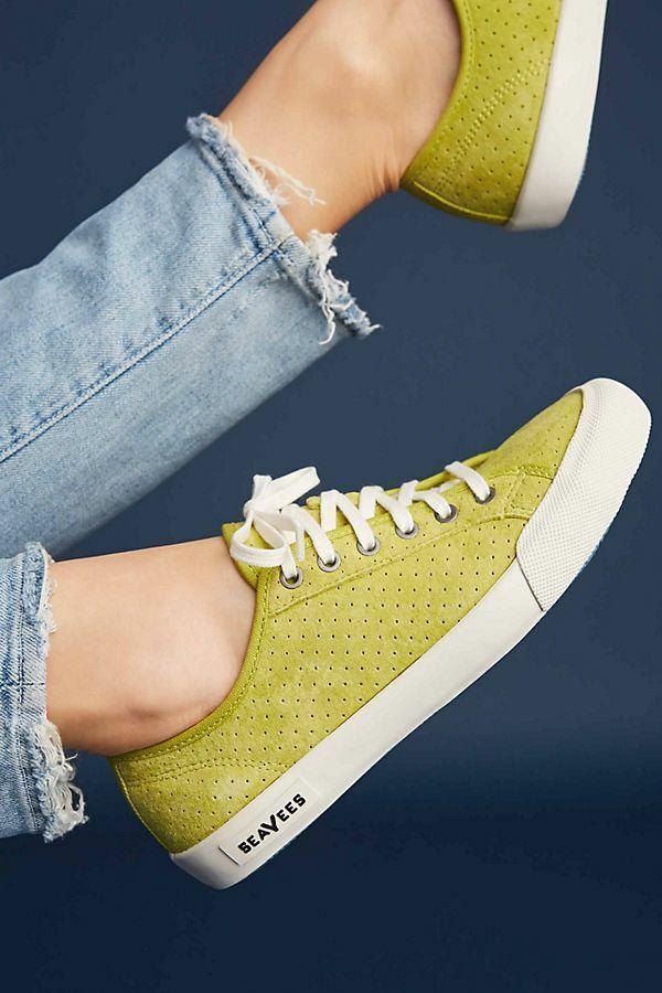 NIB Anthropologie SeaVees Monterey Varsity Sneaker Leather Chartreuse 11 Spring