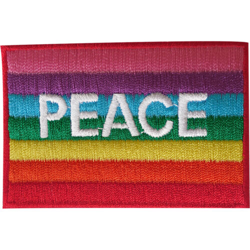 Peace Rainbow Flag Patch Iron Sew On Embroidered Badge Applique Gay Pride LGBT