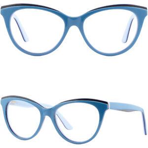 Damen Brille Gestell Fassung Schmetterling Brillengestell Federbügel Cateye Blau OldEfL73f