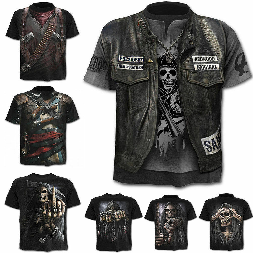 Punk Men's Funny Skull 3D Print T-Shirt Summer Casual Short Sleeve Top Basic Tee