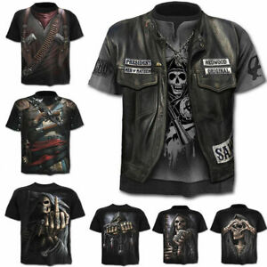 Punk-Men-039-s-Funny-Skull-3D-Print-T-Shirt-Summer-Casual-Short-Sleeve-Top-Basic-Tee
