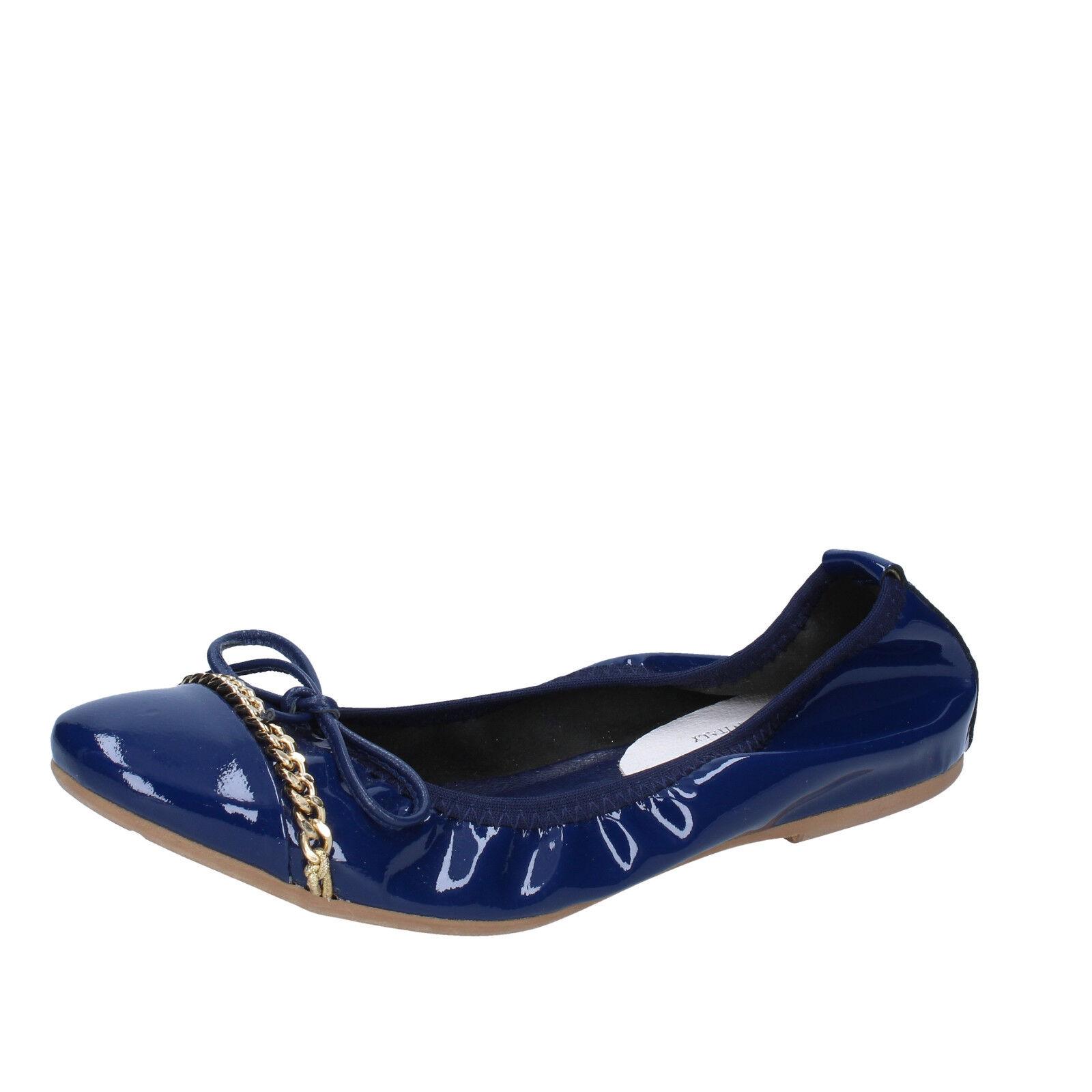 scarpe donna CROWN 35 ballerine blu vernice BZ948-B