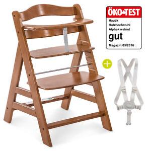 Hauck Hochstuhl Holz Baby Kinder Alpha Plus - Walnut / bis 90 kg, verstellbar