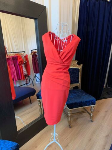Ladies Dresses Orange Ruched Party Dress Wedding Guest Race Day Fashion Uk Made