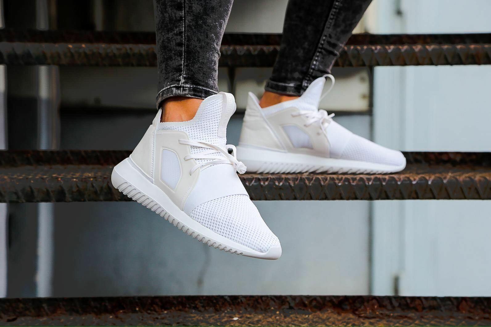 Adidas damen Girls Tubular Defiant Weiß Trainers schuhe BB5116 UK 3.5 to 9
