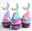 Mermaid Rainbow Tails Starfish Edible PRE-CUT Wafer Cupcake Toppers #778