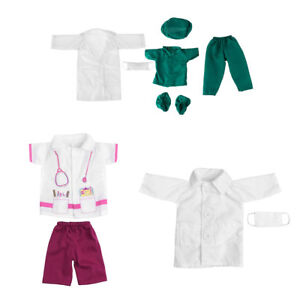 7pcs Doctor Nurse Clothes Dress Suit Set Top T-shirt Coat for 18inch Girls Dolls