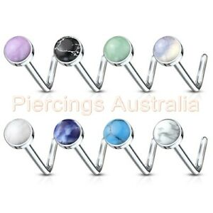 20G Gem Teardrop L Bend Nose Stud Bar Ring Body Piercing Jewellery