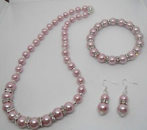 Image Is Loading Dusky Pink Pearl Necklace Amp Matching Bracelet