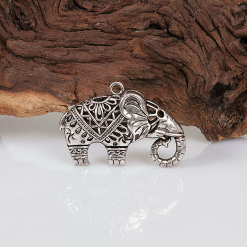 ★★ Elefant Hohl Anhänger Silber farbe Kette Schmuck basteln perlen 52x34x16 mm