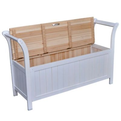 Wooden Storage Bench White Seat