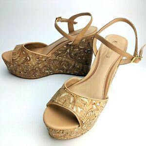ALDO-Unidda-Natural-Cork-Wedge-Strap-Sandal-Womens-Size-7-5