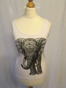 Native-Size-Small-White-Elephant-Cami-Top-Vest-100-Cotton-Sleeveless-8-10