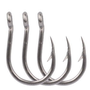 10x 1//0#-13//0# SS Steel Big Jigging Hooks Saltwater Barbed Fishing Hook Jig Hook