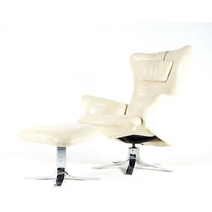 Retro-Vintage-Danish-Modern-Leather-Recliner-Chair-Armchair-Footstool-Chrome