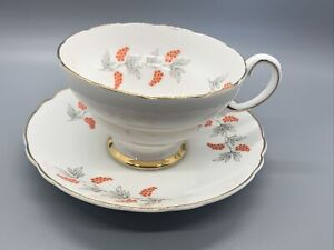 ORANGE GRAPES TEA CUP/SAUCER~~FINE BONE CHINA~~CROWN~~STAFFORDSHIRE ENGLAND