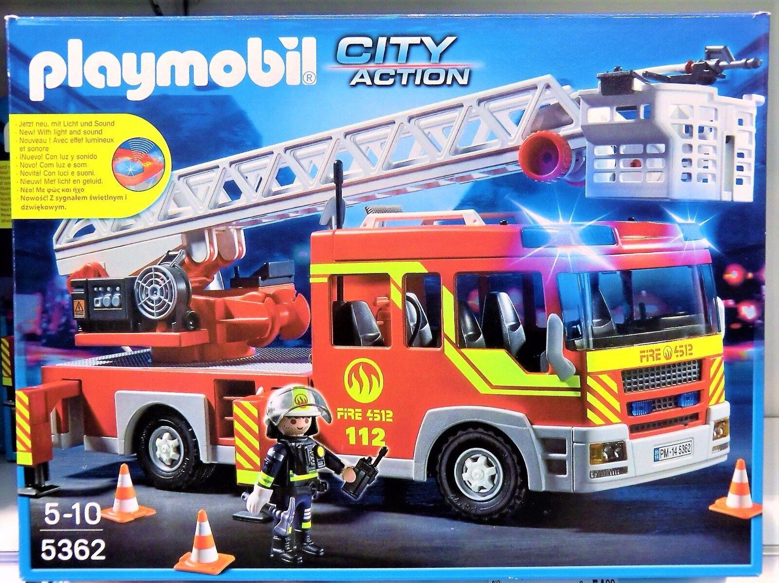 PLAYMOBIL 5362 - Feuerwehr-Leiterfahrzeug mit Licht und Sound - NEU und OVP