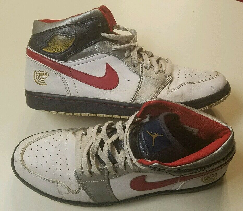 RARE 136085 Nike Air Jordans 1 White Red BLUE SHOES  11 MENS BASKETBALL AF1 TEAM