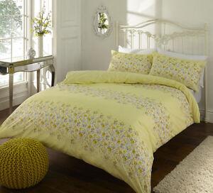 Jaune-Qualite-Melange-Coton-Megan-Floral-Parure-De-Lit-Simple-Double-King-Taille