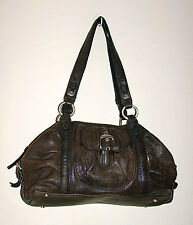Junior Drake Dark Brown Leather Purse with Outside Pockets and Buckle Accents