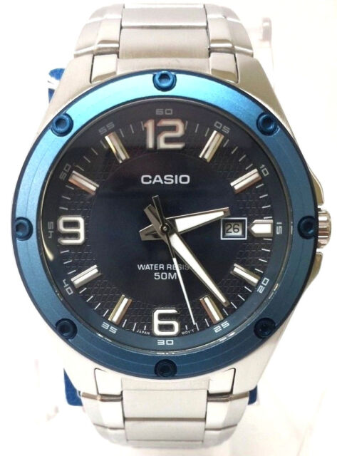 Casio Mens Stainless Steel Dress Blue Dial 50M WR Date Watch MTP-1346D-2A NEW