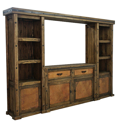 Copper Wall Unit and TV Stand Entertainment Center Rustic 4 Piece Cabin Lodge