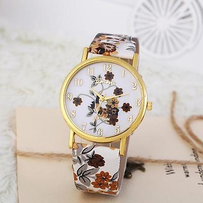 Geneva Fashion Womens Watch Floral Dial Leather Dress Quartz Analog Wrist Watch