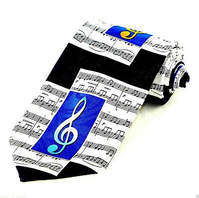 Blue Notes Men/'s Neck Tie Music Clef Notes Musician Teacher Gift Black Necktie