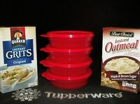 Tupperware 4 Popsicle Red Microwave Cereal Bowls Soup Oatmeal Salad