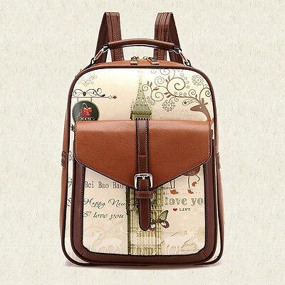 Women Girl Travel Casual PU Leather Shoulder School Bag Vintage Backpack Satchel