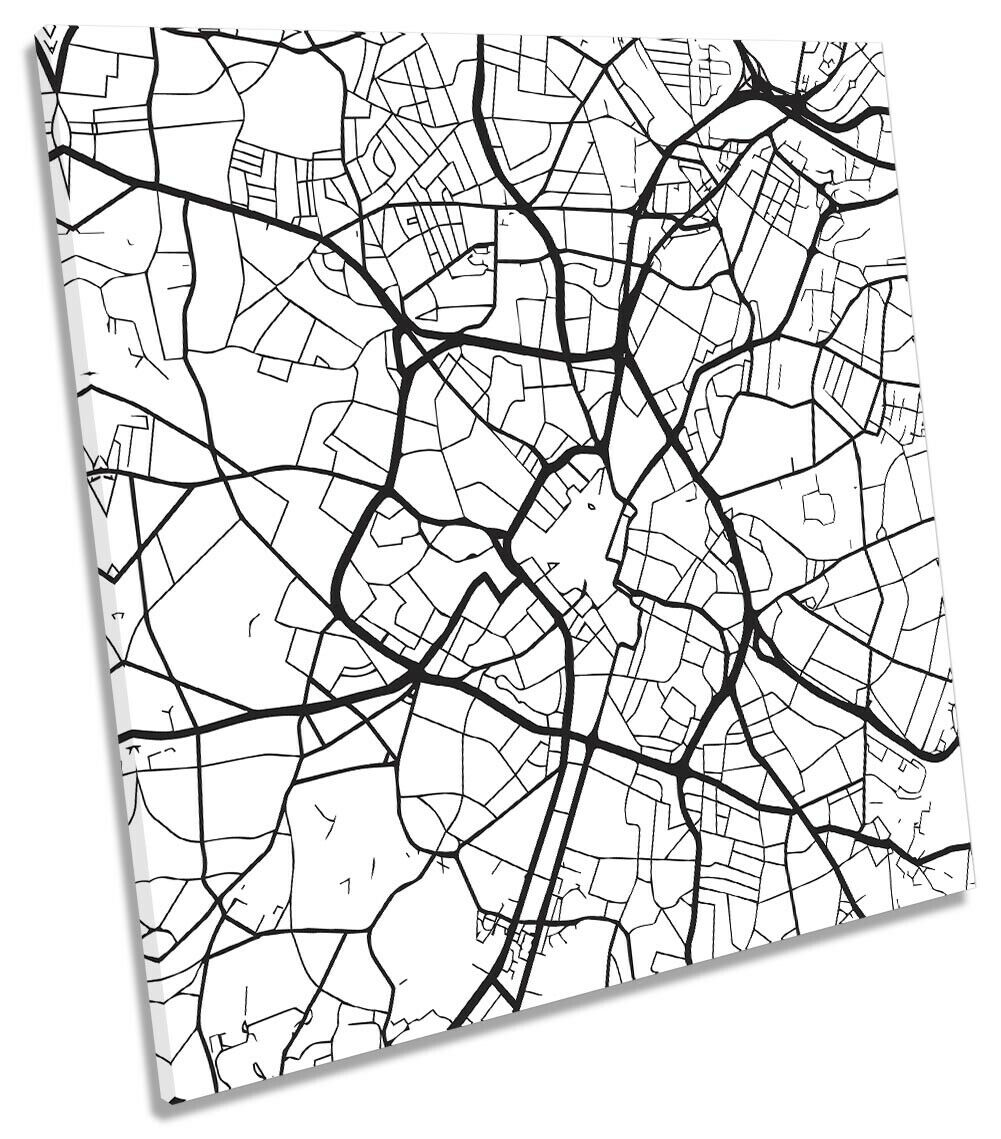 Birmingham UK City Street Map Picture CANVAS WALL ART Square Print