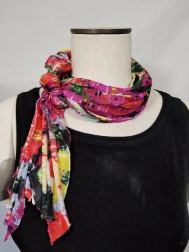 Red and Magenta Solid and Patterned Flutter Scarf Lightweight Women Accessory