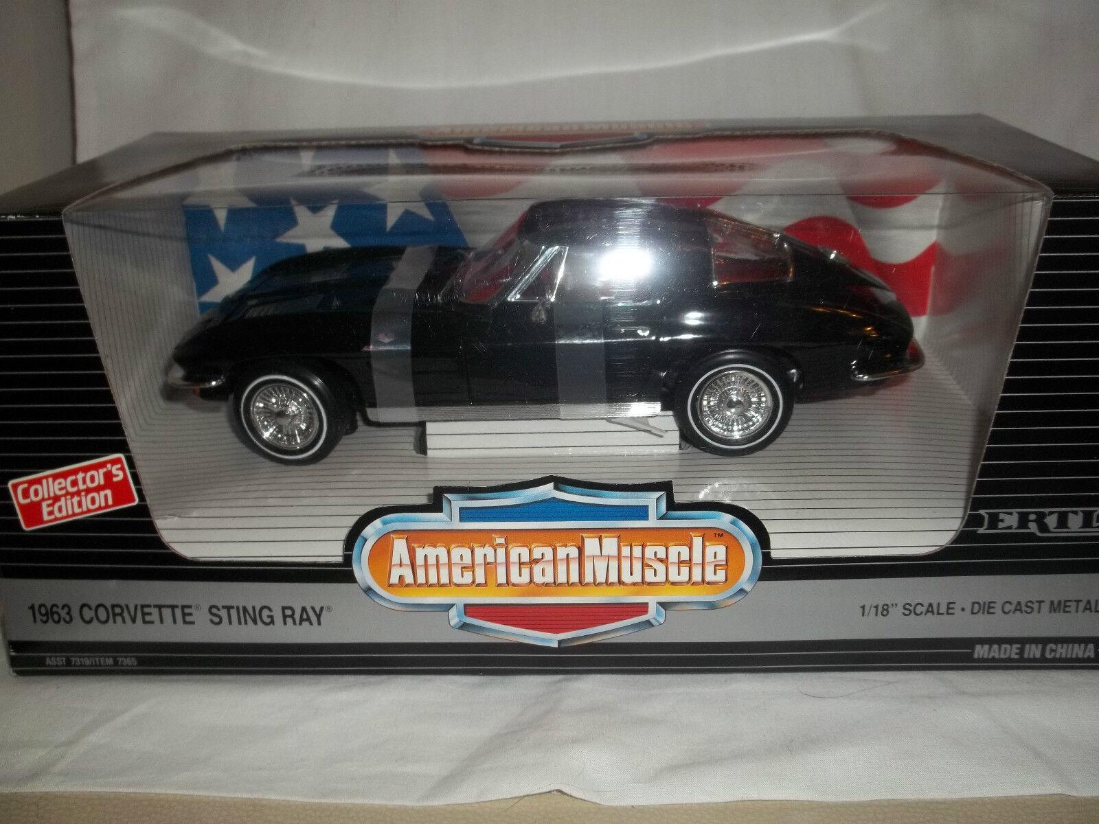 ERTL American Muscle 7365 Corvette Sting Strahl 1963 schwarz 1 18 Neuwertig